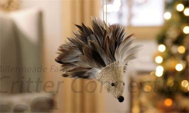 Feather & Burlap Hedgehog Ornament